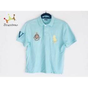 ポロラルフローレン 半袖ポロシャツ サイズS メンズ ビッグポニー ライトブルー×イエロー  値下げ 20190728