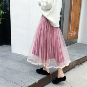 プリーツスカート メッシュ ベロア ミディスカート レディース ガーリー フェアリー かわいい お出かけ デート