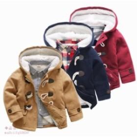 子供ジャケット 裏起毛 キッズ ダッフルコート 軽防寒 裏起毛 女の子 男の子 トップスアウター 可愛い 3色 フード付け 秋冬