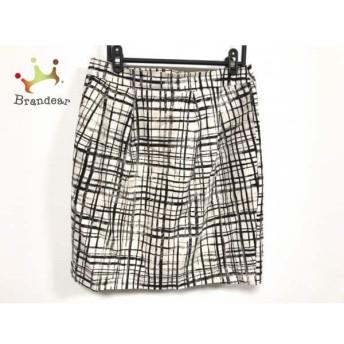 ジユウク 自由区/jiyuku スカート サイズ40 M レディース アイボリー×黒 チェック柄         スペシャル特価 20200120