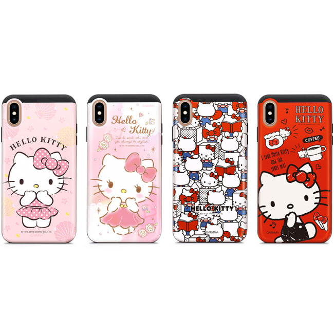 GARMMA Hello Kitty IPhone Xs Max X/XS 5.8 6.5 插卡式滑蓋防摔殼