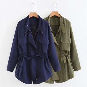 今の季節にピッタリトレンチコート ゆったりコート ロング丈アウター 大きいサイズ レディースファッション おとな 可愛い ワイルドステッチコットンジャケット