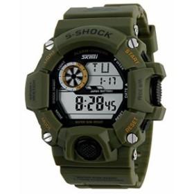 98f05c4c79 Fanmis男性のアウトドアスポーツは時計多機能電子時計Camoグリーンを ...