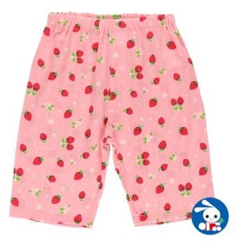 イチゴ総柄ステテコ【80cm・90cm・95cm】[女の子 ステテコ すててこ 半ズボン ハーフパンツ 部屋着 ルームパンツ パジャマ キッズ 子供
