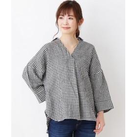 3can4on(Ladies)(サンカンシオン(レディース)) 【洗濯機OK】フレンチリネン スキッパーシャツ