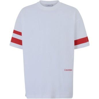 《期間限定セール開催中!》CALVIN KLEIN メンズ T シャツ ホワイト S コットン 100% OVERSIZE STRIPE SLEE