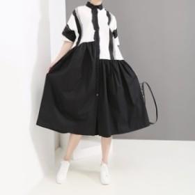 ワンピース レディース 『お得』 半袖 配色 フレア マキシ ロング 大きいサイズ 大人カジュアル 結婚式 黒 40代 ファッション 50代