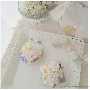 春色コサージュ white purple。・:+°【入園、入学式、卒園式に。・:+°】