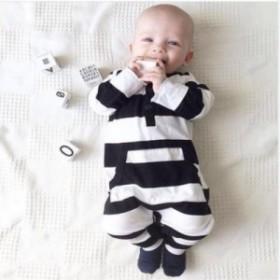 ロンパース カバーオール ベビー 赤ちゃん ベビーウエア ベビー用品 長袖 ボーダー クル