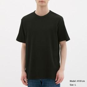 (GU)ワッフルクルーネックT(半袖) BLACK M