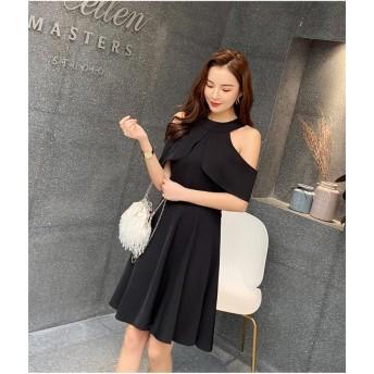 [55555SHOP] 韓国シックなチューブ オフショルダー 甘いドレス INS 短い袖のスカート 無地 A型ワンビース