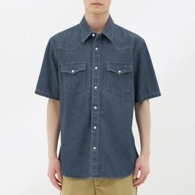 (GU)デニムウェスタンシャツ(半袖) BLUE S