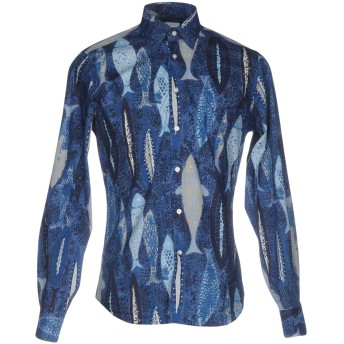 《期間限定セール開催中!》BOGLIOLI メンズ シャツ ブルー 40 100% コットン
