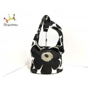 マリメッコ marimekko ショルダーバッグ 白×黒×ダークグリーン 花柄 キャンバス 新着 20190713【人気】