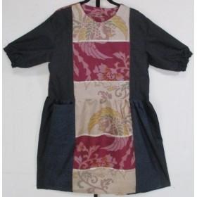 送料無料 大島紬と銘仙で作ったチュニックワンピース 4212
