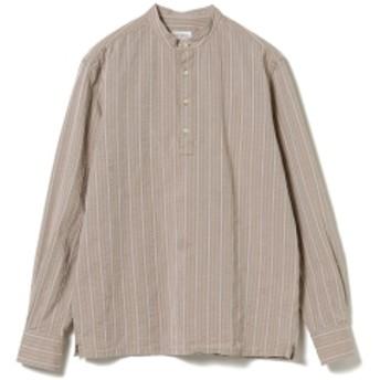 GUY ROVER / ジャカードストライプ プルオーバー バンドカラーシャツ メンズ カジュアルシャツ BEIGE/5 XL
