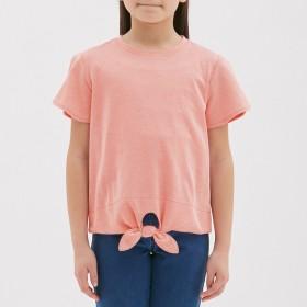 (GU)GIRLSフロントノットストライプT(半袖) RED 130