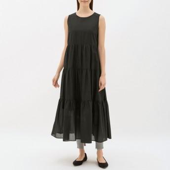 (GU)ティアードワンピース(ノースリーブ) BLACK XL