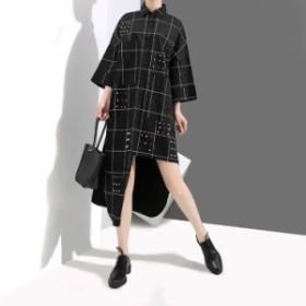 ワンピース レディース 『お得』 半袖 チェック シャツ マキシ ロング 大きいサイズ 大人カジュアル 結婚式 黒 40代 ファッション 50代