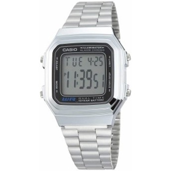 【当店1年保証】カシオCasio Men's A178WA-1A Silver Stainless-Steel Quartz Watch with Grey Dial