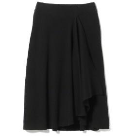 Ray BEAMS / リブ アシメドレープ スカート レディース マキシ・ロング丈スカート BLACK ONE SIZE