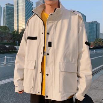 19年新作登場 メンズブルゾン 韓国ファッション スタンド ジャケット カジュアル ストリートスタイル メンズ ブラック/オフホワイト/ピンクブルゾン 3color M~5XL