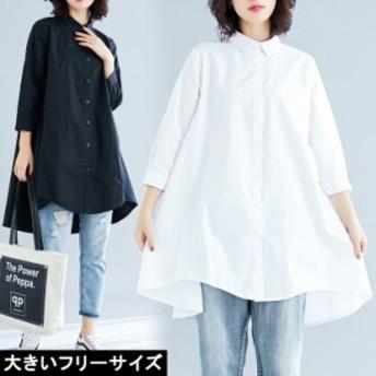 大きいサイズ レディース オーバーシャツ チュニックシャツ Aライン ワイドサイズ LL 3L 4L 5L ブラック ホワイト 2019年 夏 新入荷 ネコ