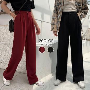 韓国ファッション美脚高品質超人気ガウチョパンツ きれいめ ワイドパンツ レディース ズ クロップドパンツ