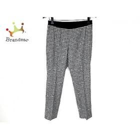 ジユウク パンツ サイズ40 M レディース 新品同様 黒×白 ウエストゴム/チェック柄   スペシャル特価 20190701