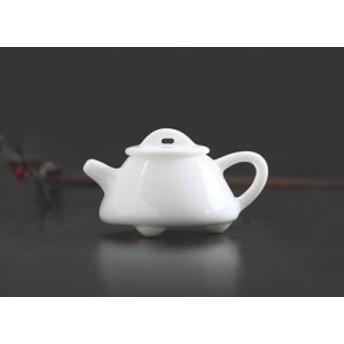 【お取り寄せ】置物 茶寵 茶玩 中国茶道具 急須 茶壺 白色 ミニチュア 陶磁器 (B)