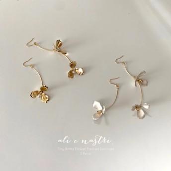 【2019夏新作】Tiny Brass Flower Pierced Earrings / 3 Petal