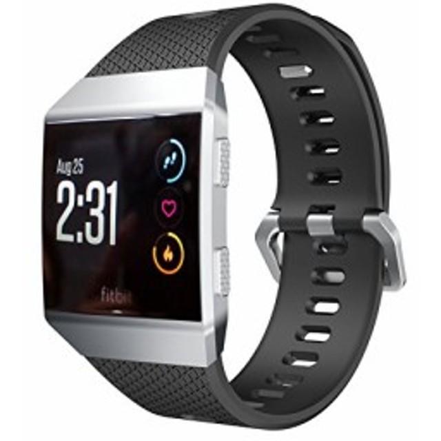 Kartice for Fitbit Ionic バンド ソフト高級シリコンバンド スポーツバンド 柔らかい バネ棒付き(large黒)