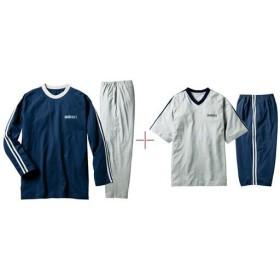 【レディース】 綿100%4点セットパジャマ(男女兼用) ■カラー:半袖グレー&長袖ネイビーセット ■サイズ:3L,M,LL,L