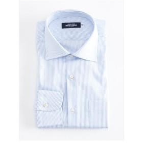 ストライプ ワイドカラーシャツ(ブルー)【TEIJIN MEN'S SHOP】
