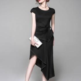 セットアップドレス トップス&スカート アシンメトリー 2色 ビジュー 半袖 不規則 上品 ミディアム 無地 エレガント フェミニン パーテ