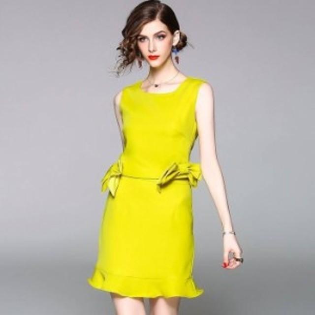 おしゃれセットアップ リボン トップス スカート 2色 フリントUネック バックVネックノースリーブ 裾フレア ミニ丈 大人可愛い エレガ