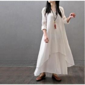 コットンリネン ロングワンピース 綿麻混 長袖  ゆったり 体型カバー 大きいサイズ 春 秋  着痩せ 30代40代50代