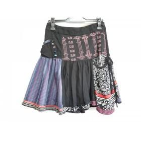 【中古】 デシグアル Desigual スカート サイズ34 S レディース 黒 ピンク マルチ