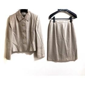 【中古】 カルヴェン CARVEN スカートスーツ サイズ11 M レディース 美品 ベージュ アイボリー ドット柄