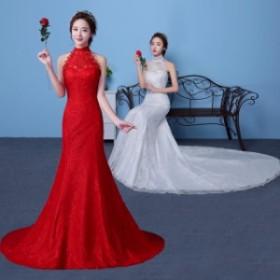 レディースロングウェディングドレスマーメイドトレーンウェディングドレス二次會パーティードレス撮影寫真プリンセス結婚式