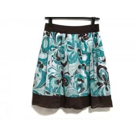 【中古】 アプワイザーリッシェ スカート サイズ2 M レディース ダークブラウン ライトグリーン マルチ