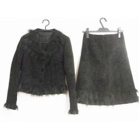 【中古】 ランバンコレクション スカートスーツ サイズ38 M レディース 黒 ファー/ビーズ