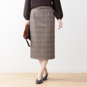 ルージュ・ヴィフ ラクレ(Rouge vif la cle)/ベルト付きグレンチェックタイトスカート