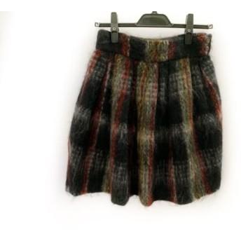 【中古】 ルルロジェッタ Leur Logette スカート サイズ1 S レディース 黒 白 マルチ チェック柄
