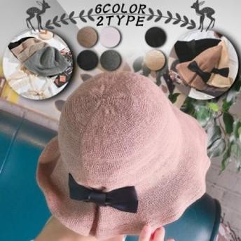 レディース帽子 春夏 おしゃれ 綿麻ナチュラルブリム キャップハット 紫外線対策 小顔効果 リボン 日焼け 女優帽