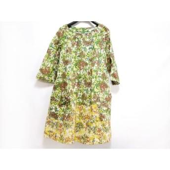 【中古】 ホコモモラ ワンピース サイズ40 XL レディース 美品 グリーン イエロー マルチ 花柄