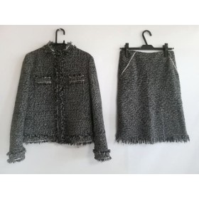 【中古】 コムサデモード COMME CA DU MODE スカートスーツ レディース グレー 黒 アイボリー