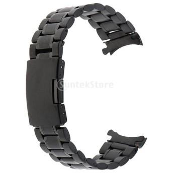ステンレススチール 腕時計 ストラップ ウオッチ 交換用バンド リストバンド アクセサリー パーツ 交換用 ブラック 全5サイズ - 20mm