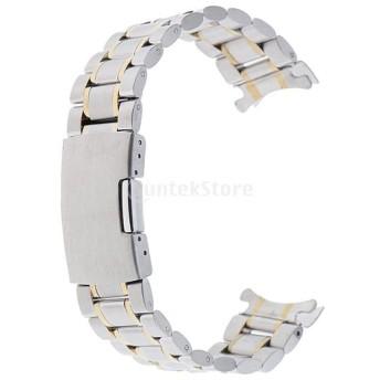 ステンレスベルト ウォッチベルト 交換ベルト 腕時計バンド 高品質 防水性 シルバーとゴールド 全5サイズ - 22mm