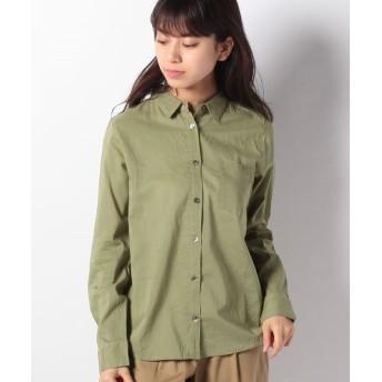 【52%OFF】 グリーンパークス nougatine ボイル長袖レギュラーシャツ レディース カーキ M 【Green Parks】 【タイムセール開催中】